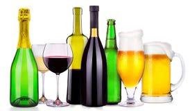 套不同的酒精饮料和鸡尾酒 免版税库存照片