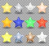 套不同的颜色圣诞节现实星  明亮,金属和透明颜色的新年装饰 皇族释放例证