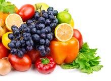 套不同的水果和蔬菜 免版税图库摄影