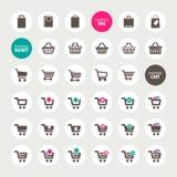 套购物车、篮子和袋子象 免版税库存图片