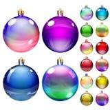 套不透明的色的圣诞节球 库存例证