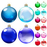 套不透明的色的圣诞节球 皇族释放例证