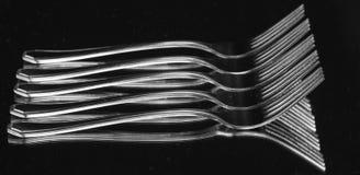 套不锈钢叉子。 免版税库存照片