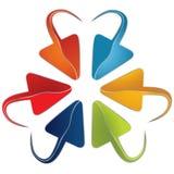 套与一个被环绕的末端的五颜六色的箭头 免版税库存图片