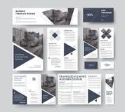套与三角设计元素的现代公司样式, l 向量例证