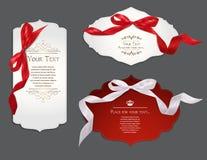 套与丝绸丝带的典雅的卡片 免版税库存图片