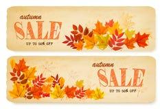 套与五颜六色的叶子的两副秋天销售横幅 库存图片