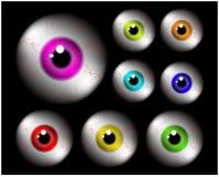 套与五颜六色的学生,虹膜的现实肉眼球 在黑背景的传染媒介例证 免版税库存图片