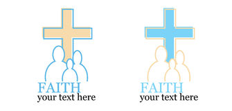 套与交叉或宗教主题的2徽标 免版税库存照片