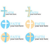 套与交叉或宗教主题的6徽标 免版税库存图片