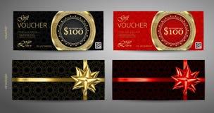 套与优质样式的礼券模板和信封设计 礼券证明优惠券设计模板 库存例证