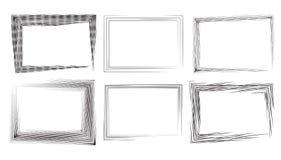 套与冲程和板刻的长方形框架 免版税库存照片
