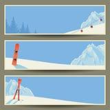 套与减速火箭的冬天风景,例证, eps10的横幅 免版税库存照片
