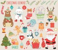 套与动物和圣诞老人的圣诞节和新年元素 免版税库存照片