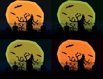 套与可怕树的四个万圣夜恐怖风景 免版税库存照片