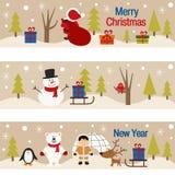 套与圣诞树和字符的水平的横幅 库存图片