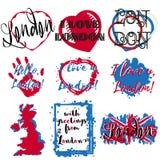 套与字法的标签关于伦敦 向量例证