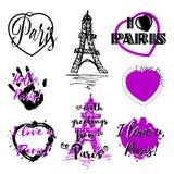 套与字法的标签关于巴黎 向量例证