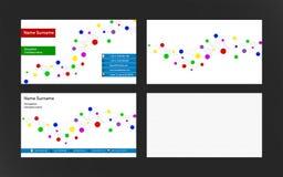 套与小点连接的现代名片 明亮的颜色 免版税图库摄影