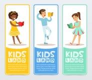套与少年阅读书的横幅 教育和学校概念 促进开发中心 平的学校 皇族释放例证