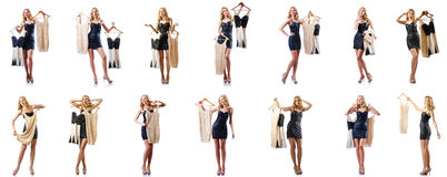 套与尝试新的衣物的妇女的照片 图库摄影