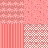套与心脏(盖瓦)的浪漫无缝的样式 桃红色颜色 也corel凹道例证向量 背景 重点查出的形状蕃茄白色 库存照片