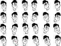 套与情感的男性动画片面孔 库存图片