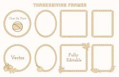 套与手拉的元素的感恩框架 皇族释放例证