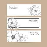 套与手拉的墨水玫瑰色花的3副横幅 库存图片