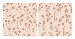 套与手拉的花的简单的花卉无缝的样式 向量例证