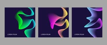 套与抽象动态设计的时髦卡片 向量例证