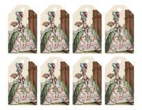 套与时兴的维多利亚女王时代的妇女的8个可印的礼物标记喜欢玛丽・安托瓦内特 免版税图库摄影