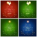 套与星和金黄雄鸡的抽象圣诞树 皇族释放例证