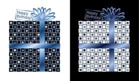 套与最高荣誉和弓的蓝色和白色礼物 图库摄影