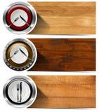 套与板材的厨房横幅 免版税图库摄影
