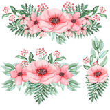 套与桃红色花和蕨的水彩花束 库存照片