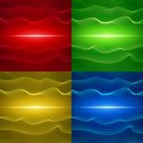 套与波浪线的四抽象背景 免版税图库摄影
