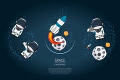 套与火箭发射,宇航员,行星的现代设计例证 宇宙探险和新技术 模板 库存照片