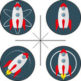 套与火箭的四个商标 库存照片
