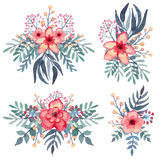 套与热带红色花的水彩花束 免版税图库摄影