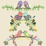 套与爱情鸟的传染媒介边界 免版税库存图片