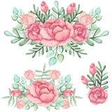 套与玫瑰和绿色叶子的水彩花束 图库摄影