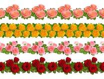 套与玫瑰的无缝的边界 背景查出的白色 免版税库存图片
