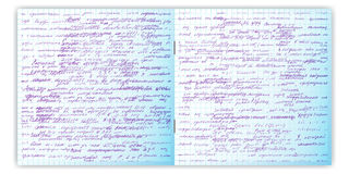 套与真正的手书面文本的传染媒介无缝的样式在习字簿栅格纸 免版税库存照片