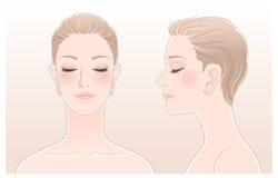 套与眼睛的美丽的妇女纵向关闭了 向量例证