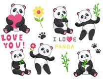 套与竹子的六只滑稽的熊猫 库存例证