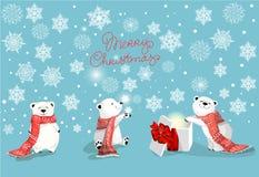 套与红色围巾和圣诞节礼物的小的逗人喜爱的北极熊在与雪花的蓝色bacjground 库存例证