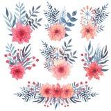 套与红色花和蓝色叶子的水彩简单的花束 免版税库存图片