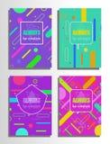 套与线和几何形状的抽象海报 免版税库存图片