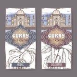 套与肉豆蔻、辣椒和泰姬陵手拉的颜色剪影的两个标签 免版税库存图片